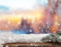 Fundo abstrato do inverno com pranchas de madeira Fotos de Stock