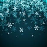 Fundo abstrato do inverno do vetor dos flocos de neve Imagens de Stock Royalty Free