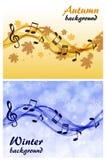 Fundo abstrato do inverno e do outono com notas da música e uma clave de sol ilustração do vetor