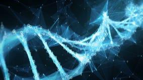 Fundo abstrato do movimento - laço binário da molécula 4k do ADN do plexo do polígono de Digitas ilustração royalty free