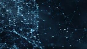 Fundo abstrato do movimento - redes de dados aleatórias digitais do plexo dos dígitos ilustração do vetor