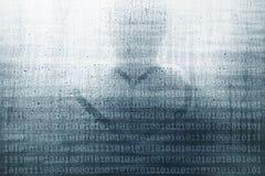 Fundo abstrato do número binário com pessoa ilustração do vetor
