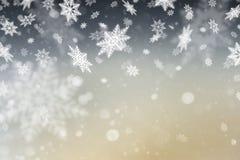 Fundo abstrato do Natal com flocos de neve Imagens de Stock Royalty Free
