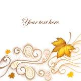 Fundo abstrato do outono com folhas de bordo pontilhadas e redemoinhos Fotos de Stock Royalty Free