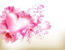 Fundo abstrato do rosa do grunge com coração ilustração stock