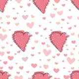 Fundo abstrato do teste padrão do coração, teste padrão do estilo da garatuja do amor ilustração stock