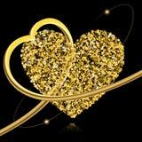 Fundo abstrato do vetor com estrelas do ouro e uma forma de uma audição Foto de Stock