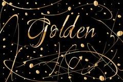 Fundo abstrato do vetor com gotas da pintura do ouro Projeto luxuoso com lugar para o texto Aperfeiçoe para o cartaz, inseto, ban Foto de Stock Royalty Free