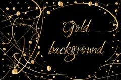 Fundo abstrato do vetor com gotas da pintura do ouro Projeto luxuoso com lugar para o texto Aperfeiçoe para o cartaz, inseto, ban Fotografia de Stock