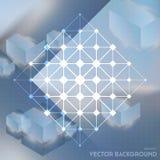 Fundo abstrato do vetor com os cubos isométricos com reflexão ilustração royalty free