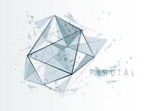 Fundo abstrato do vetor das baixas partículas polis, projeto poligonal do fractal, 3D elemento dimensional com linhas conectadas, ilustração stock