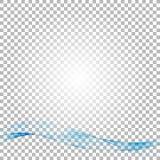 Fundo abstrato do vetor, linhas acenadas transparentes azuis para o folheto, Web site, projeto do inseto Onda azul do fumo Fotos de Stock Royalty Free