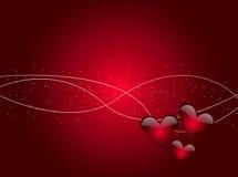 Fundo abstrato dos corações lustrosos Fotos de Stock Royalty Free