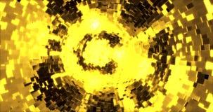 Fundo abstrato dos gráficos com cubos dourados em uma esfera rendição 3d video estoque