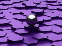 Fundo abstrato dos hexágonos 3d e da esfera de aço Fotos de Stock Royalty Free