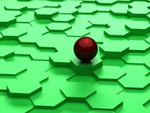 Fundo abstrato dos hexágonos 3d e da esfera vermelha Foto de Stock Royalty Free