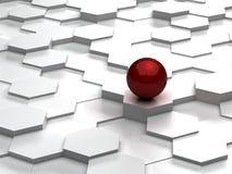 Fundo abstrato dos hexágonos 3d e da esfera vermelha Imagens de Stock Royalty Free