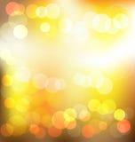 Fundo abstrato elegante de Gloden com luzes do bokeh Fotografia de Stock