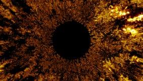 Fundo abstrato, estrutura como um túnel do fogo, do ouro ilustração 3d Fotografia de Stock