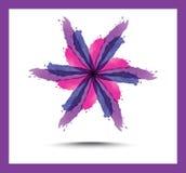 Fundo abstrato floral brilhante O roxo floresce lírios, círculos decorados e redemoinhos ilustração stock