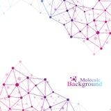 Fundo abstrato geométrico com linha e os pontos conectados Composição grande dos dados Molécula e fundo de uma comunicação ilustração royalty free