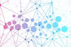 Fundo abstrato geométrico com linha e os pontos conectados Molécula e comunicação da estrutura Conceito científico para Imagem de Stock Royalty Free