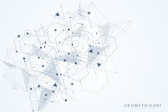 Fundo abstrato geométrico com linha e os pontos conectados Molécula e comunicação da estrutura Conceito científico para ilustração do vetor