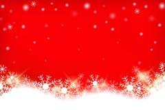 Fundo abstrato gredient vermelho colorido com estação do inverno do floco da neve ilustração royalty free