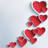 Fundo abstrato na moda com corações 3d ilustração stock
