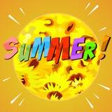 Fundo abstrato pintado do verão com flores amarelas Fotografia de Stock Royalty Free