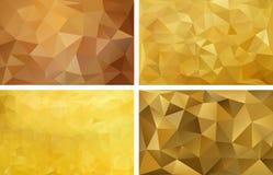 Fundo abstrato poligonal Quatro fundos Imagens de Stock