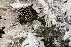 Fundo abstrato por o ano novo Árvore de Natal com os cones cobertos com a neve Copyspace imagens de stock royalty free