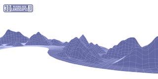 Fundo abstrato roxo da malha poligonal com landscap da montanha Imagens de Stock Royalty Free