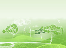 Fundo abstrato verde com árvores estranhas Foto de Stock