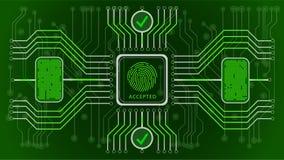 Fundo abstrato verde futurista aceitado Confirmação biométrica do controle e da personalidade Esquema do controle das impressões  ilustração stock