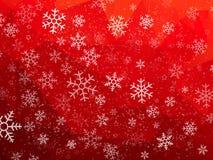 Fundo abstrato vermelho do Natal com flocos de neve ilustração royalty free