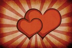 Fundo abstrato vermelho dos corações do grunge Imagem de Stock