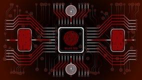 Fundo abstrato vermelho futurista rejeitado Confirmação biométrica do controle e da personalidade Esquema do controle das impress ilustração do vetor