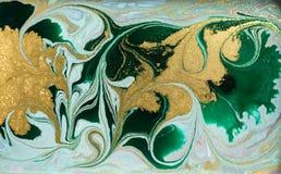 Fundo acrílico abstrato de mármore Textura marmoreando da arte finala Teste padrão da ondinha da ágata Pó do ouro foto de stock royalty free