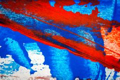 Fundo acrílico pintado à mão vermelho e azul abstrato fotografia de stock