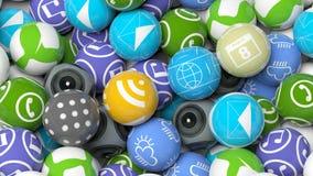 Fundo aglomerado com vários apps ilustração stock
