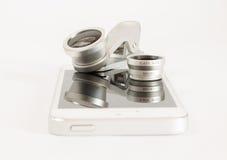 Fundo ajustado do branco do telefone celular do macro de Fisheye Imagem de Stock