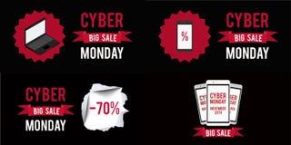 Fundo ajustado do preto do witn da bandeira da venda de segunda-feira do Cyber Gráfico da ilustração do vetor Fotografia de Stock Royalty Free