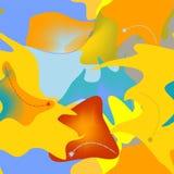 Fundo alaranjado azul abstrato, formas coloridas extravagantes, teste padrão sem emenda 18-49 Imagens de Stock