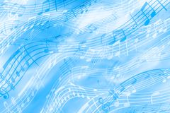 Fundo alegre, azul em um tema musical com a imagem das notas e pauta musical Fundo abstrato brilhante de tiras coloridas ilustração royalty free