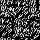 Fundo alfabético da caligrafia futurista Cores preto e branco Desenho de Colapen Imagens de Stock
