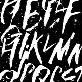 Fundo alfabético da caligrafia futurista Cores preto e branco Desenho de Colapen Fotos de Stock