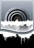 Fundo alinhado grunge da skyline da música Fotografia de Stock Royalty Free