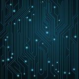 Fundo alta tecnologia Cartão-matriz com os conectores de néon luminosos Circuito de computador Ilustração do vetor ilustração do vetor
