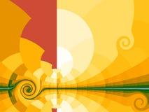 Fundo amarelo com sol estilizado Foto de Stock
